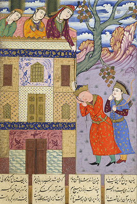 Zal stands with a companion at the base of a palace wall. He touches a lock of hair which Rudabeh, standing at the top of the wall, has let down. She has several companions with her.