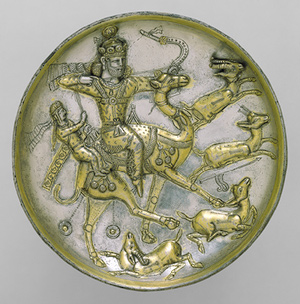 Working Title/Artist: Plate with Hunting Scene of Bahram Gur and Azadeh Department: Ancient Near East Culture/Period/Location: HB/TOA Date Code: 05 Working Date: photography by mma, DT1634.tif retouched by film and media (jnc) 8_26_08